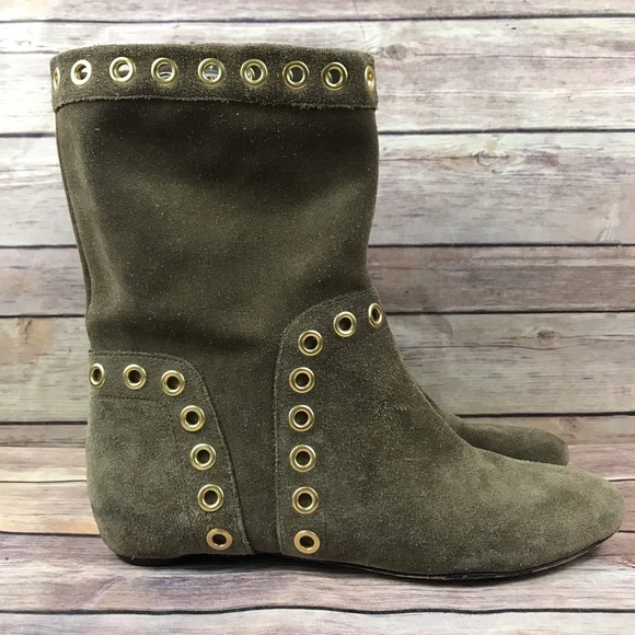Taupe Brown Suede Flat Ankle Boots